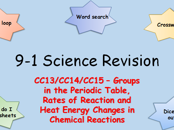 Edexcel CC13,14,15 Groups, Rates of Reaction and Heat Energy Changes Revision pack Science 9-1