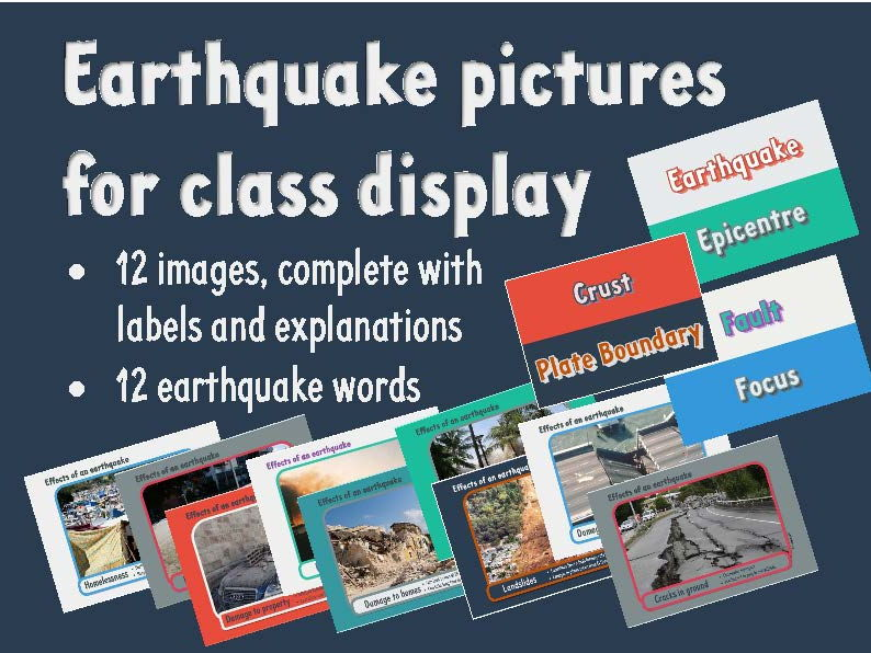 Earthquake pictures and words for class display