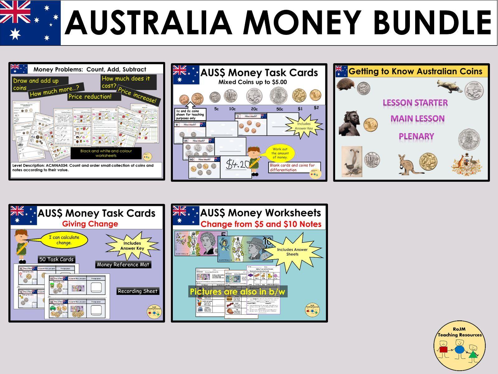 Australian Money Worksheets Lessons Task Cards Bundle