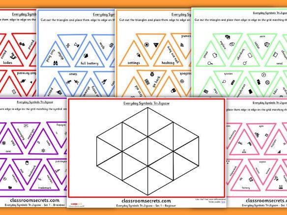 Differentiated Everyday Symbols Tarsia Jigsaw