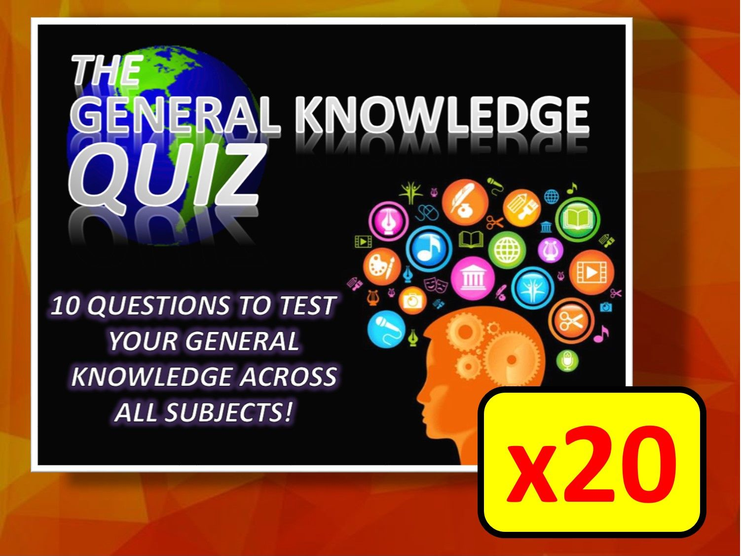 20 x The General Knowledge Pub Quiz (#1-20) Form Tutor Time Cross Curricular Settler End of Term