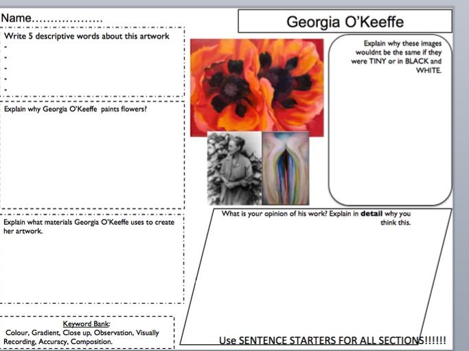 Georgia O'Keeffe artist planning sheet / annotation support