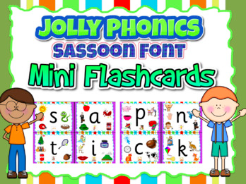 Jolly Phonics Letters Sassoon Font- 1/4 size Mini-Flashcards (11 pages)