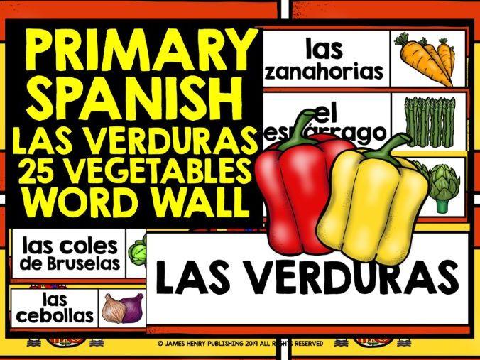 PRIMARY SPANISH VEGETABLES DISPLAY WORD WALL