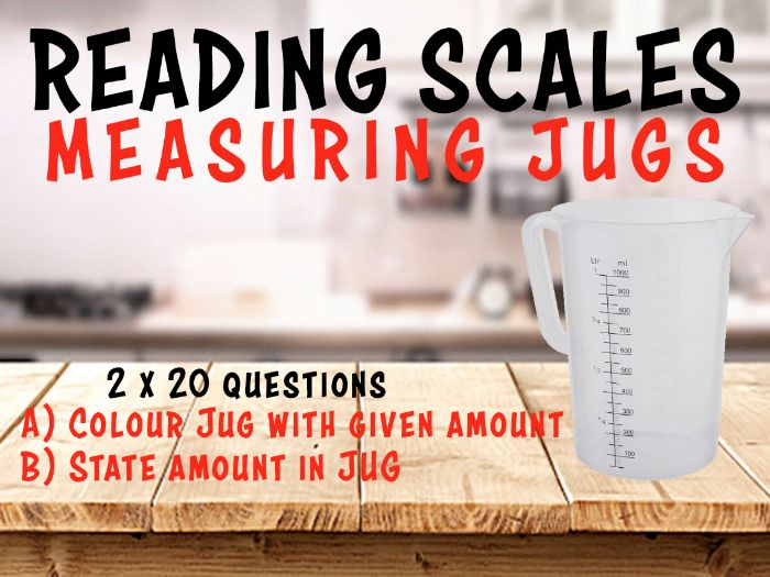 READING SCALES - MEASURING JUGS - 4 Worksheets, 40 Questions + ANSWERS + Clip-art