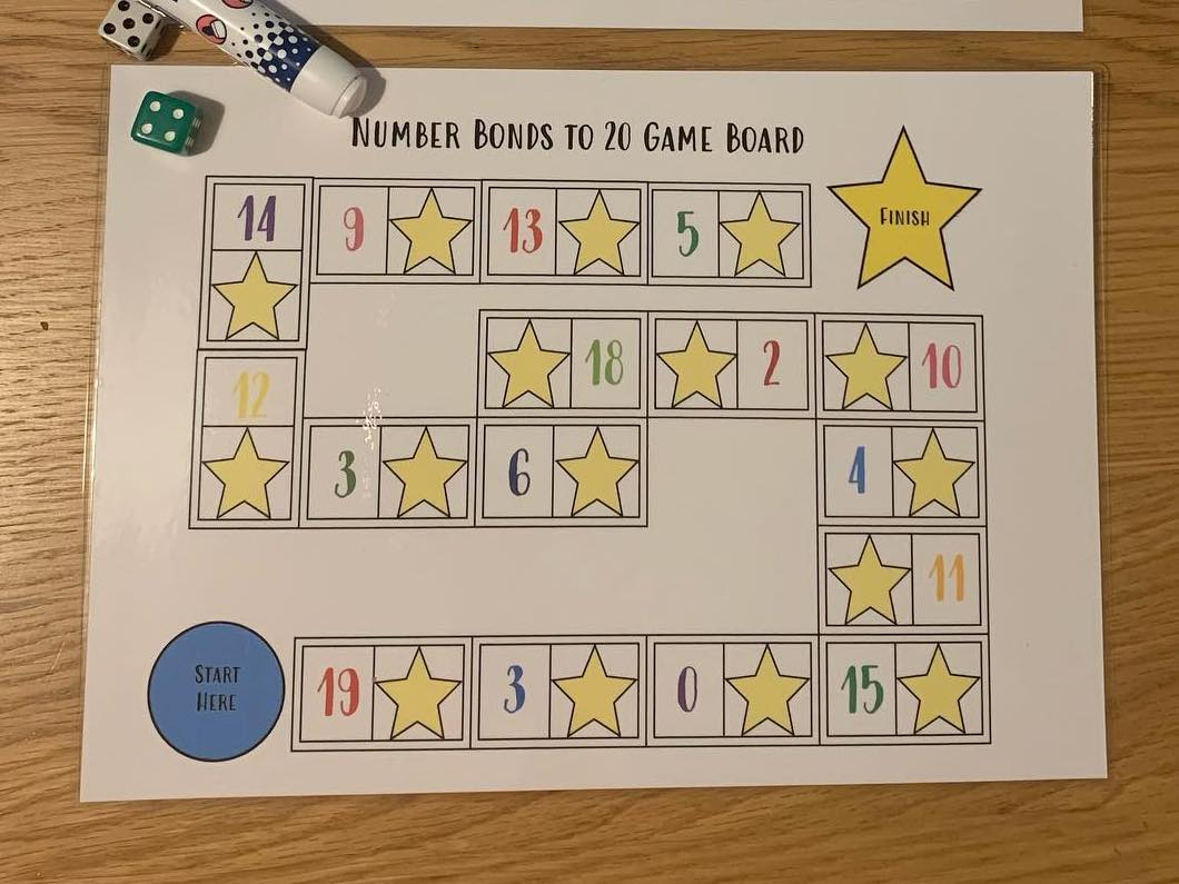 Number Bonds to 20 Board Game