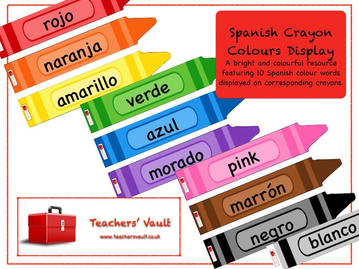 Spanish Crayon Colours Display