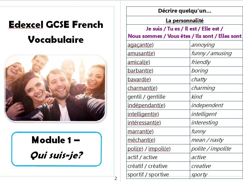 Edexcel GCSE Vocab booklet - Module 1 - Qui suis-je?