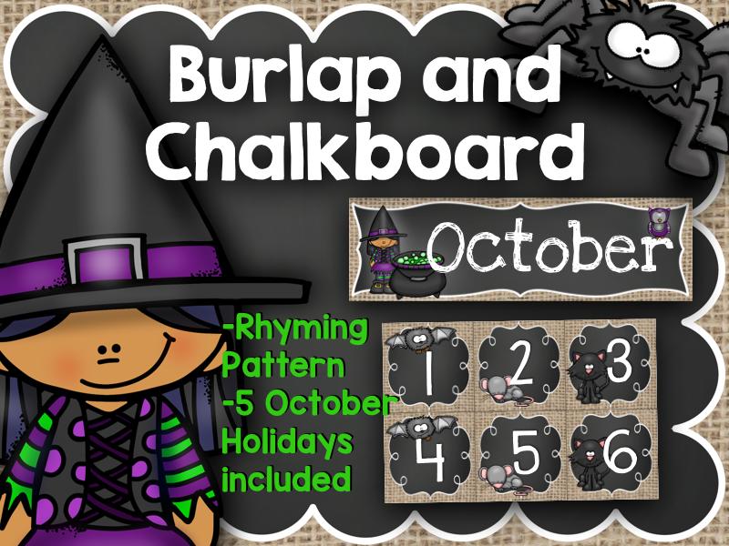 October Calendar: Burlap and Chalkboard