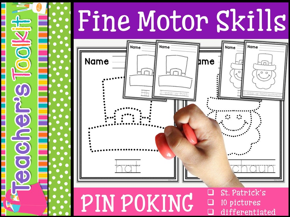 Motor Skills: Pin Poking St. Patrick's Day
