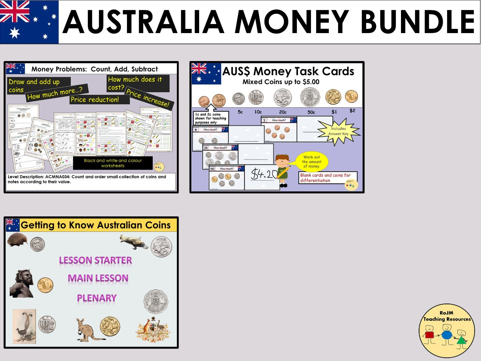 Australian Money Worksheets Lessons Task Cards Bundle