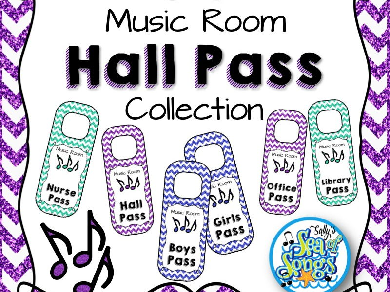 Music Room Hall Pass Door Hangers Collection - Glitter & Chevrons