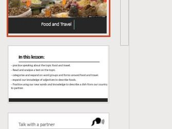 English language - Food and travel full lesson