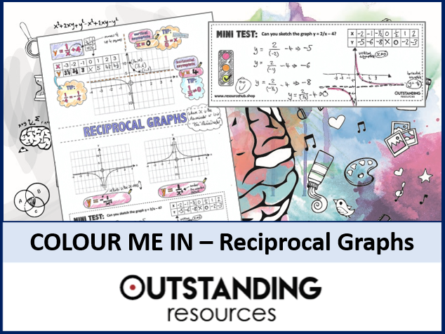 Colour Me In Sheets or Doodle Notes - Reciprocal Graphs