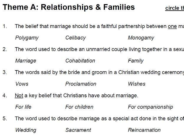 Relationships & Families (Theme A: AQA GCSE Religious Studies) - multiple choice test
