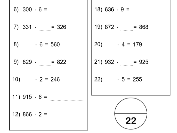 Subtracting a single digit from 3 digits (4 sheets)