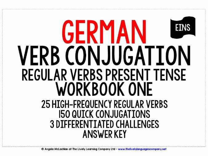 GERMAN REGULAR VERBS CONJUGATION - PRESENT TENSE WORKBOOK & ANSWER KEY