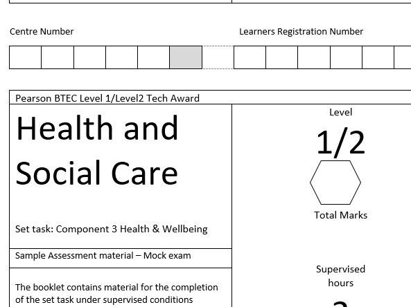 BTEC Tech Award Health and Social Care Component 3 Mock exam paper and mark scheme