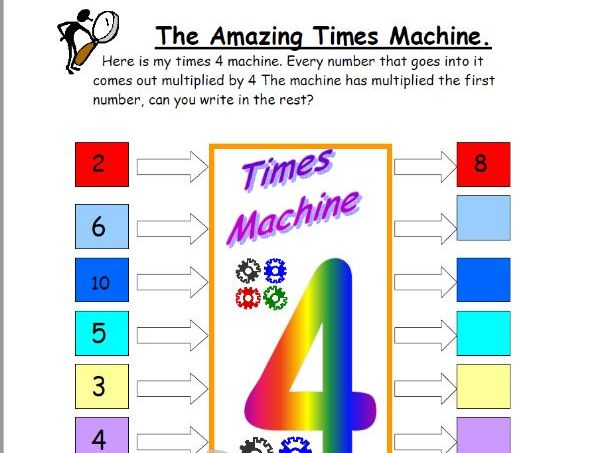 4 times table 'Times machine'  fun worksheet, SEN