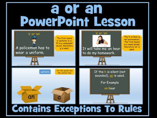 PowerPoint Lesson - The Articles 'a' or 'an' (advanced) Including Exceptions To The Rules