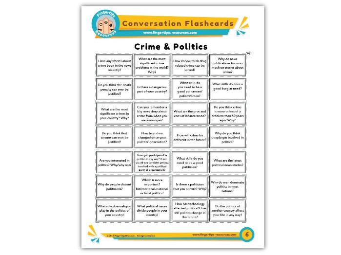 Crime & Politics - Conversation Flashcards