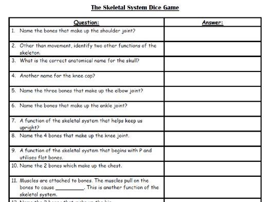 AQA 9-1 GCSE PE - Function Of The Skeleton & The Bones Dice Game by ...