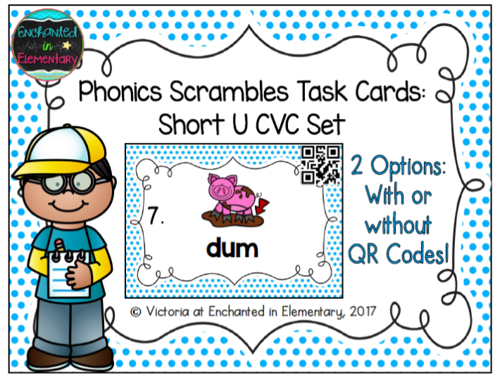 Phonics Scrambles Task Cards: Short u CVC Set