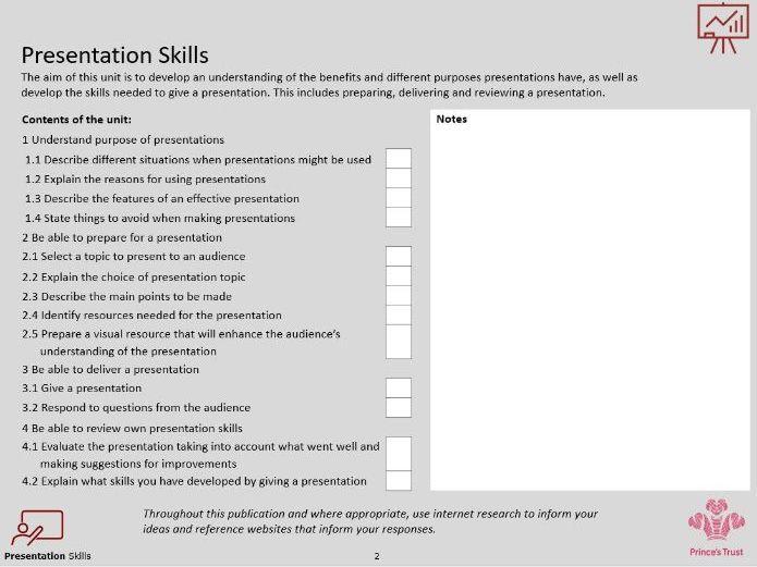 Prince's Trust Presentation Skills Level 2 Student Booklet (pdf)