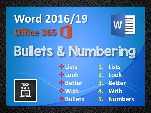 Microsoft Word: Bullets and Numbering