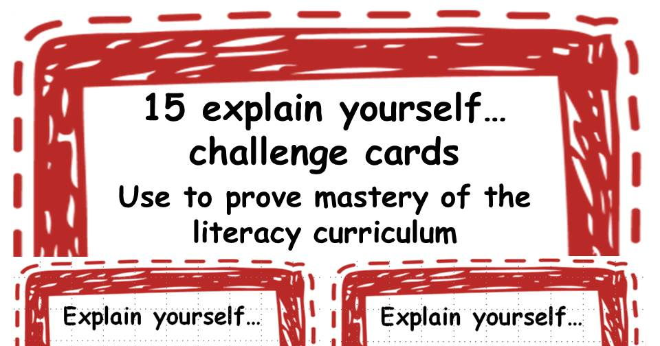 15 KS2 explain yourself... challenge cards.