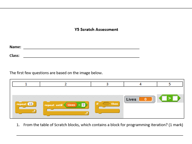 KS2 Introduction to Scratch Assessment