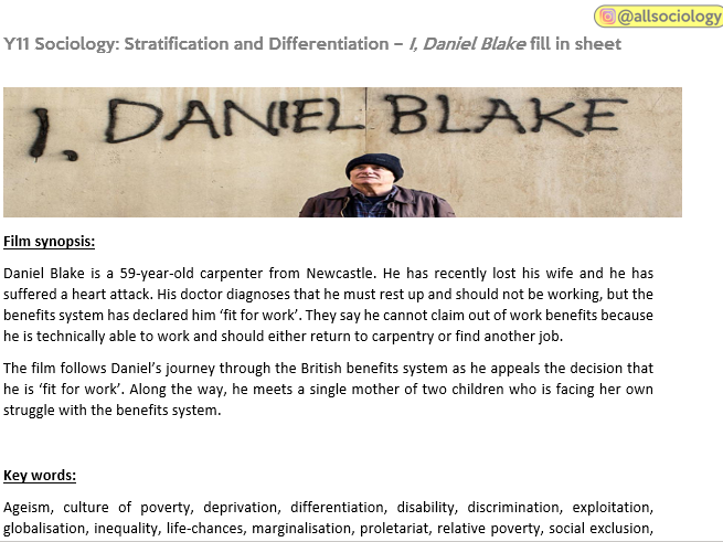 FREE!! GCSE Sociology (Eduqas / WJEC) - Stratification and Differentiation: I, Daniel Blake sheet