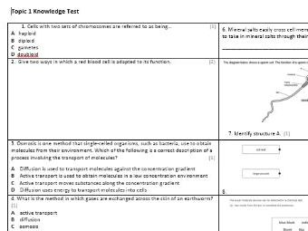 Edexcel CB6 Biology Knowledge Assessment