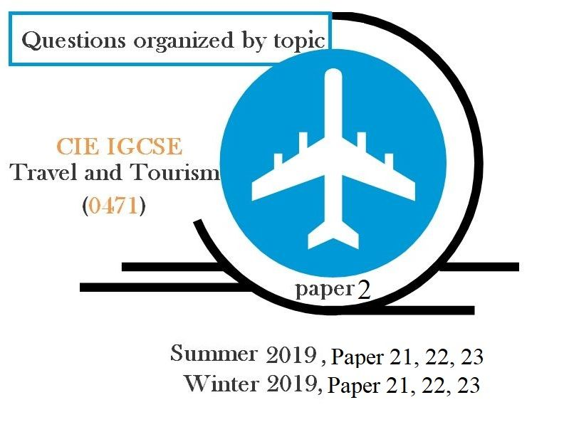 Questions organized by topic for the CIE IGCSE Travel and Tourism (0471)2019 paper2.