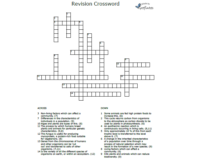 AQA Biology Revision Crossword