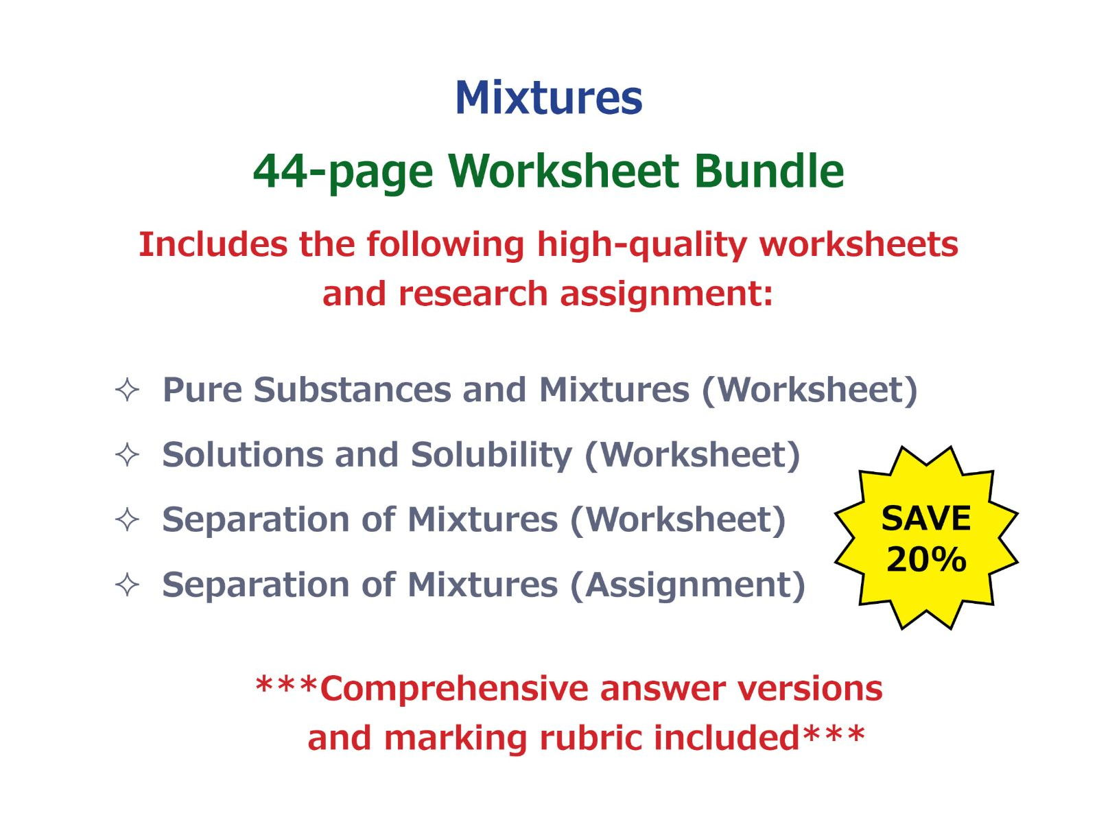 Worksheets Separating Mixtures Worksheet separation of mixtures research assignment by goodscienceworksheets teaching resources tes