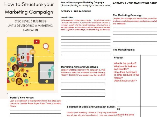 Unit 2 Developing a Marketing Campaign How to Structure your marketing campaign BTEC