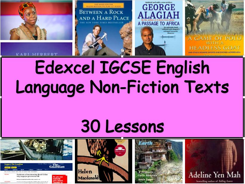 Edexcel IGCSE English Language Non-Fiction Texts (30 Lesson Plans)