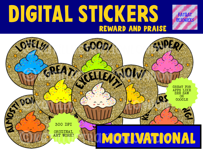 Cute Gold Glitter Cupcake Digital Stickers For See Saw and Google Classroom