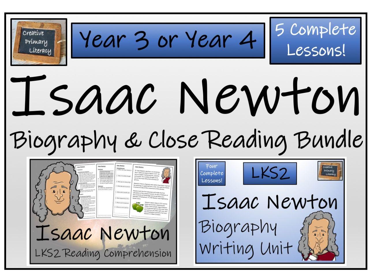 LKS2 Science - Isaac Newton Reading Comprehension & Biography Writing Bundle
