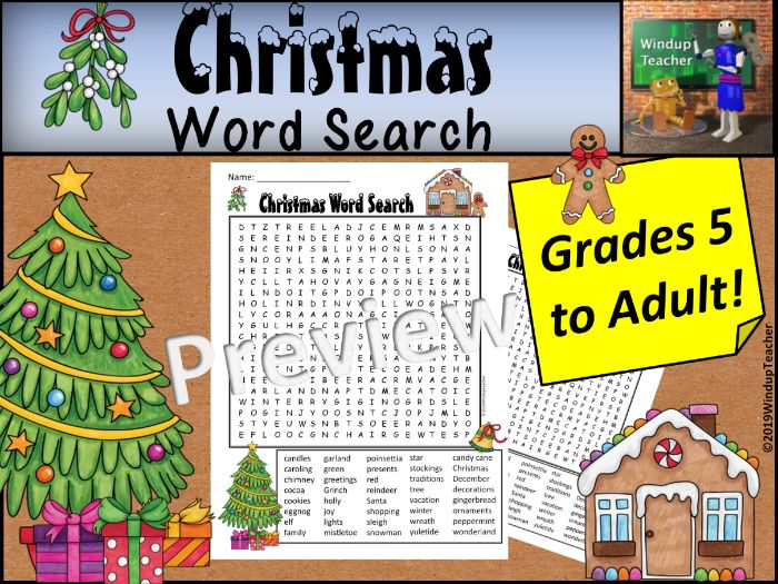 Christmas Word Search - Hard for Grades 5 to Adult