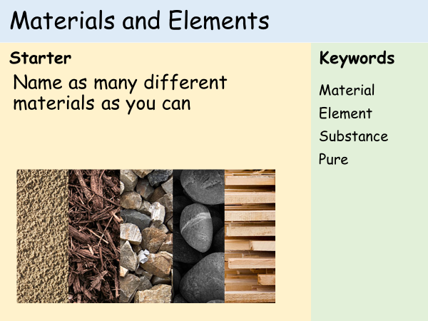 KS3 Atoms - Lesson 1 - Elements