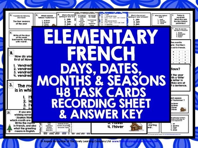 FRENCH DAYS MONTHS SEASONS DATES TASK CARDS