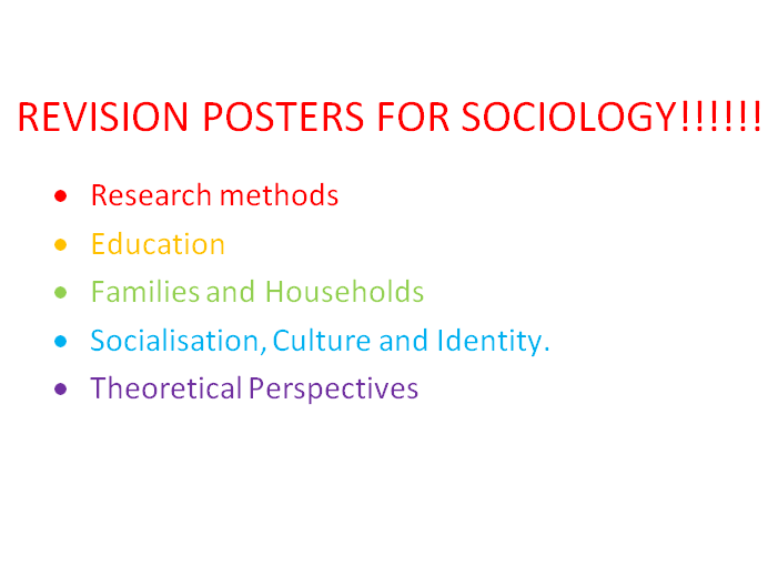 A-LEVEL OCR SOCIOLOGY REVISION POSTERS
