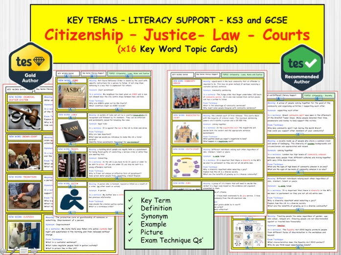 Crime, law , Courts, Justice  x16 Key term word Revision topic cards KS3 and GCSE CITIZENSHIP 9-1