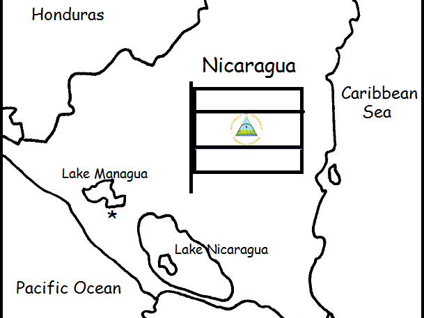 NICARAGUA - Printable handouts with map and flag to color