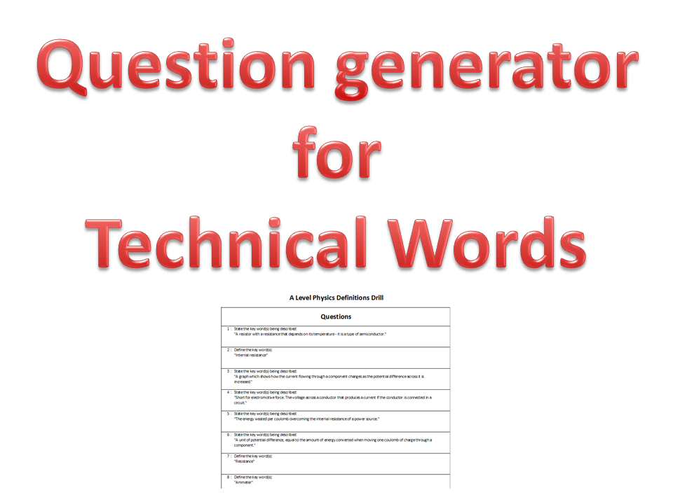 A Level Physics Definitions Drill (worksheet generator)
