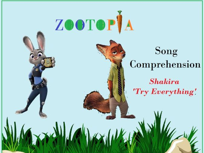 Shakira Song Try Everything Movie Zootopia -Worksheets with keys