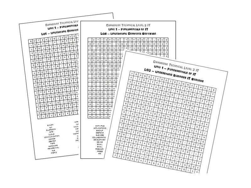 Cambridge Technical Level 3 IT 2016 Unit 1 Word Search Activities / Revision / Starters