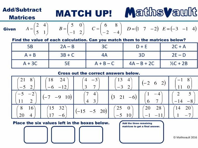 Adding or Subtracting Matrices Worksheet